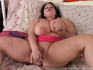 Beautiful big tits brunette BBW has a very wet pussy
